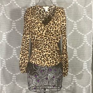 H&M wrapped animal print peplum blouse size 4